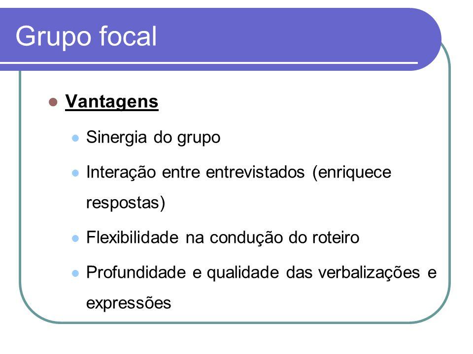 Grupo focal Vantagens Sinergia do grupo Interação entre entrevistados (enriquece respostas) Flexibilidade na condução do roteiro Profundidade e qualid