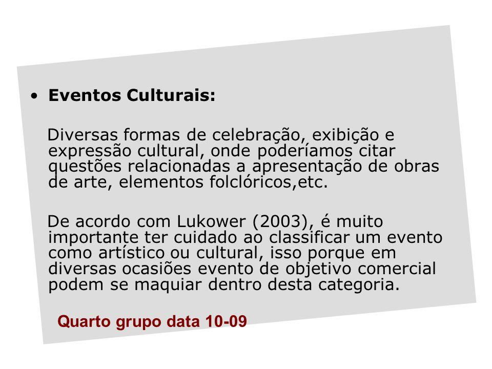 Eventos Culturais: Diversas formas de celebração, exibição e expressão cultural, onde poderíamos citar questões relacionadas a apresentação de obras de arte, elementos folclóricos,etc.
