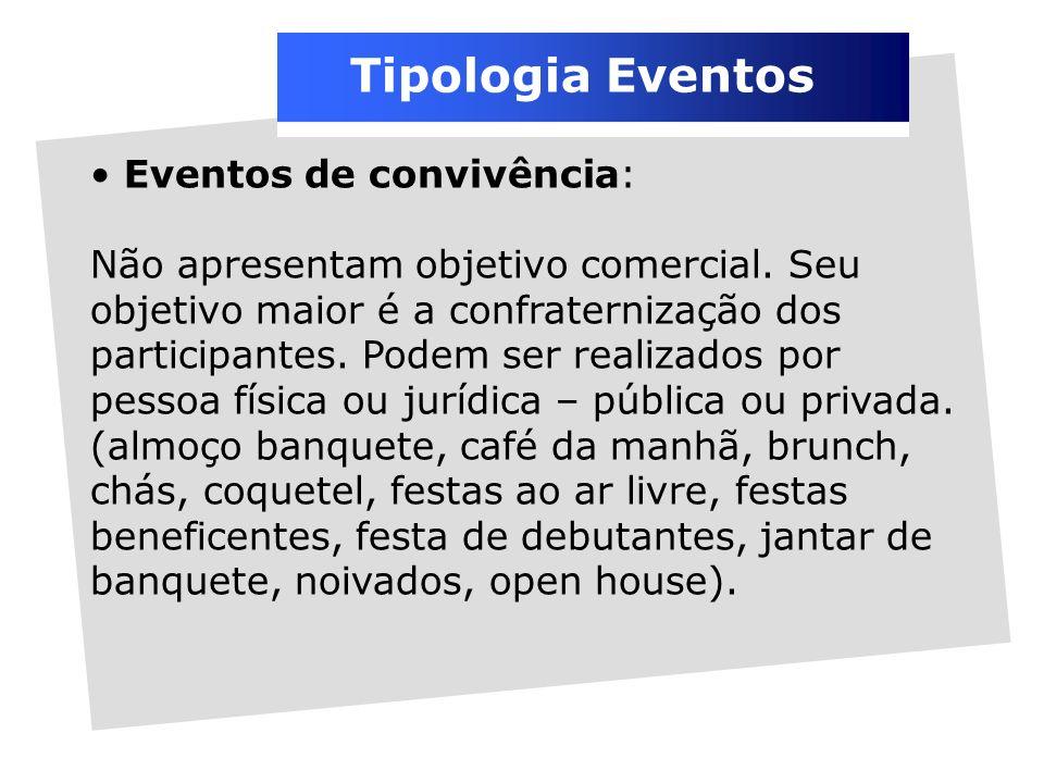 Tipologia Eventos Eventos de convivência: Não apresentam objetivo comercial.
