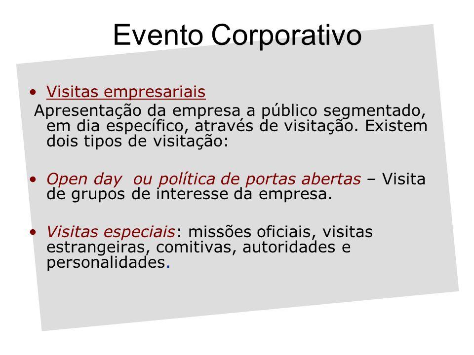 Evento Corporativo Visitas empresariais Apresentação da empresa a público segmentado, em dia específico, através de visitação.