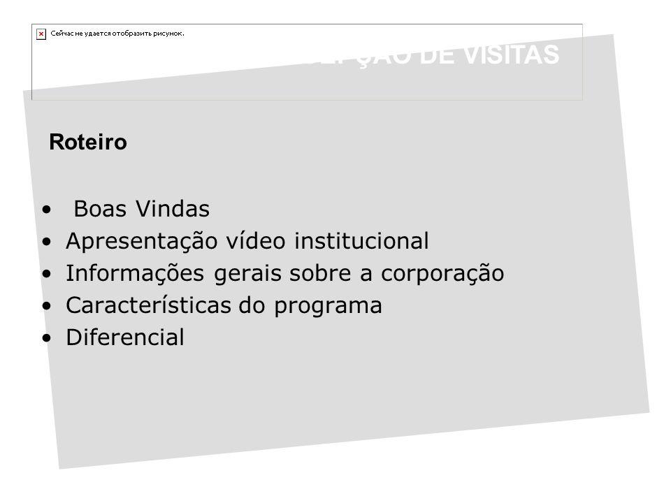 Roteiro Boas Vindas Apresentação vídeo institucional Informações gerais sobre a corporação Características do programa Diferencial PROGRAMA DE RECEPÇÃO DE VISITAS