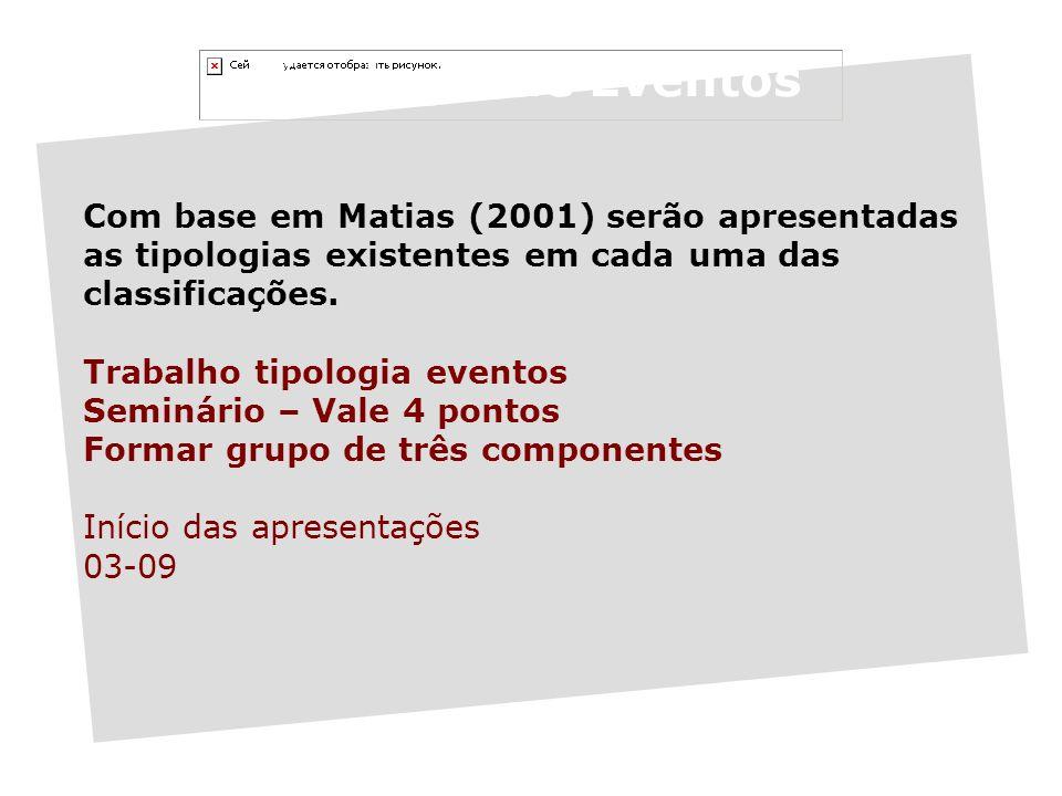 Tipologia de Eventos Com base em Matias (2001) serão apresentadas as tipologias existentes em cada uma das classificações.
