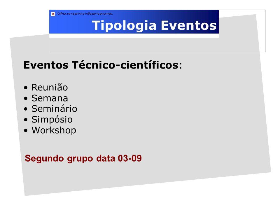 Tipologia Eventos Eventos Técnico-científicos: Reunião Semana Seminário Simpósio Workshop 1 Segundo grupo data 03-09