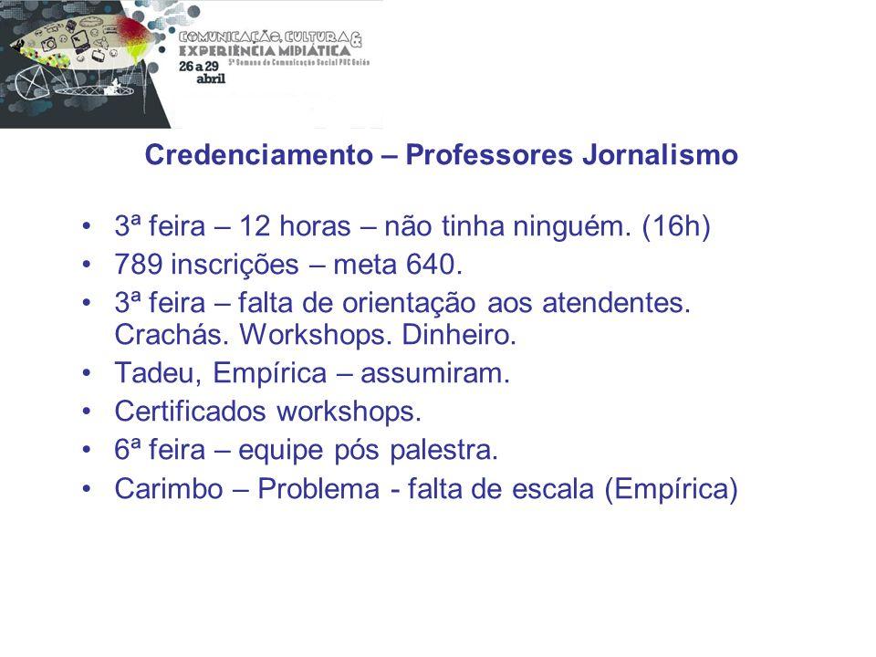 Credenciamento – Professores Jornalismo 3ª feira – 12 horas – não tinha ninguém. (16h) 789 inscrições – meta 640. 3ª feira – falta de orientação aos a