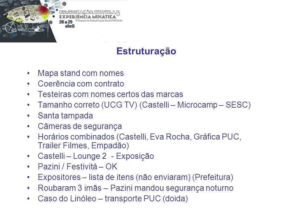 Estruturação Mapa stand com nomes Coerência com contrato Testeiras com nomes certos das marcas Tamanho correto (UCG TV) (Castelli – Microcamp – SESC)