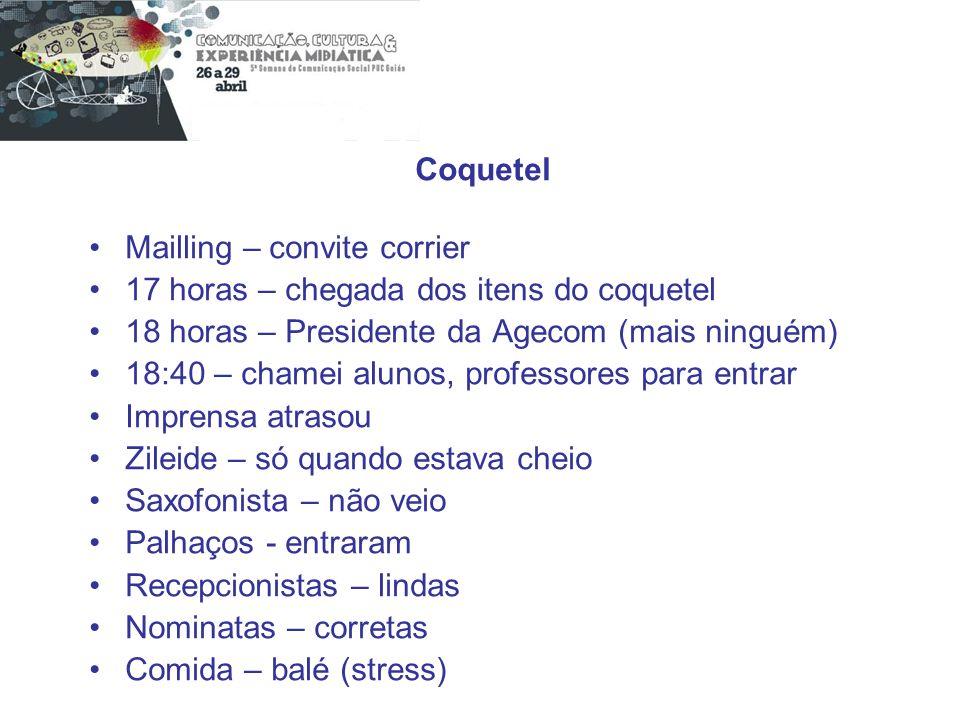 Coquetel Mailling – convite corrier 17 horas – chegada dos itens do coquetel 18 horas – Presidente da Agecom (mais ninguém) 18:40 – chamei alunos, pro
