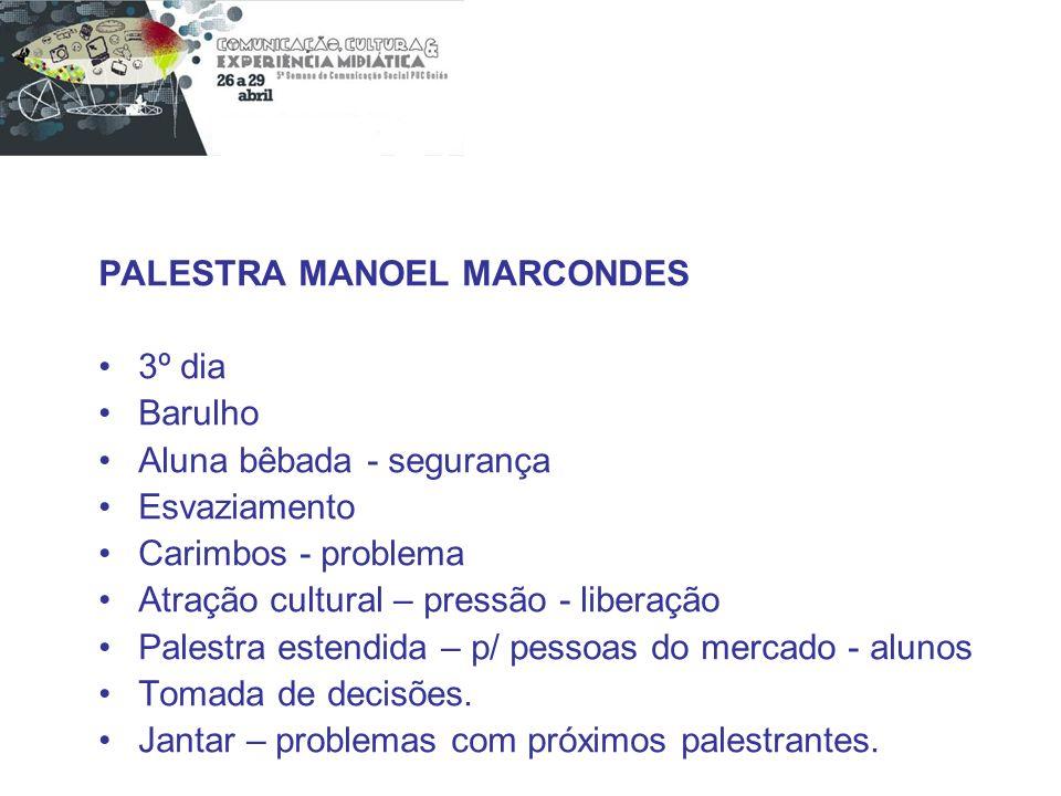PALESTRA MANOEL MARCONDES 3º dia Barulho Aluna bêbada - segurança Esvaziamento Carimbos - problema Atração cultural – pressão - liberação Palestra est