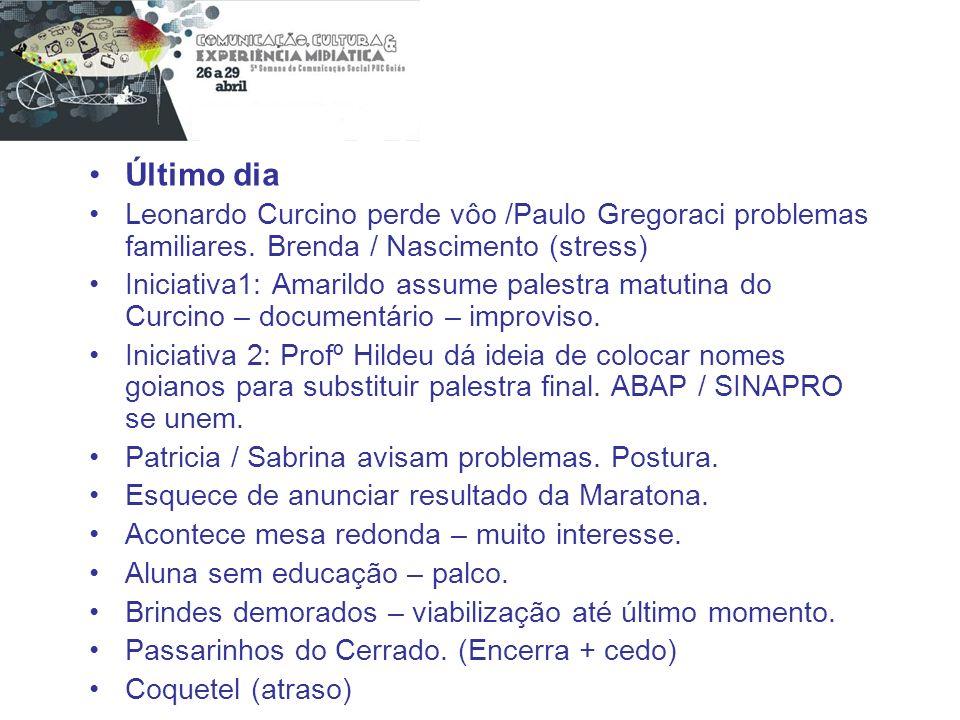 Último dia Leonardo Curcino perde vôo /Paulo Gregoraci problemas familiares. Brenda / Nascimento (stress) Iniciativa1: Amarildo assume palestra matuti