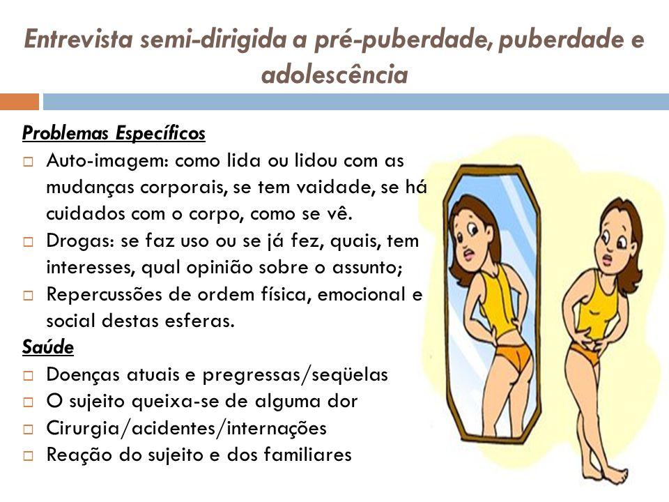 Entrevista semi-dirigida a pré-puberdade, puberdade e adolescência Problemas Específicos Auto-imagem: como lida ou lidou com as mudanças corporais, se