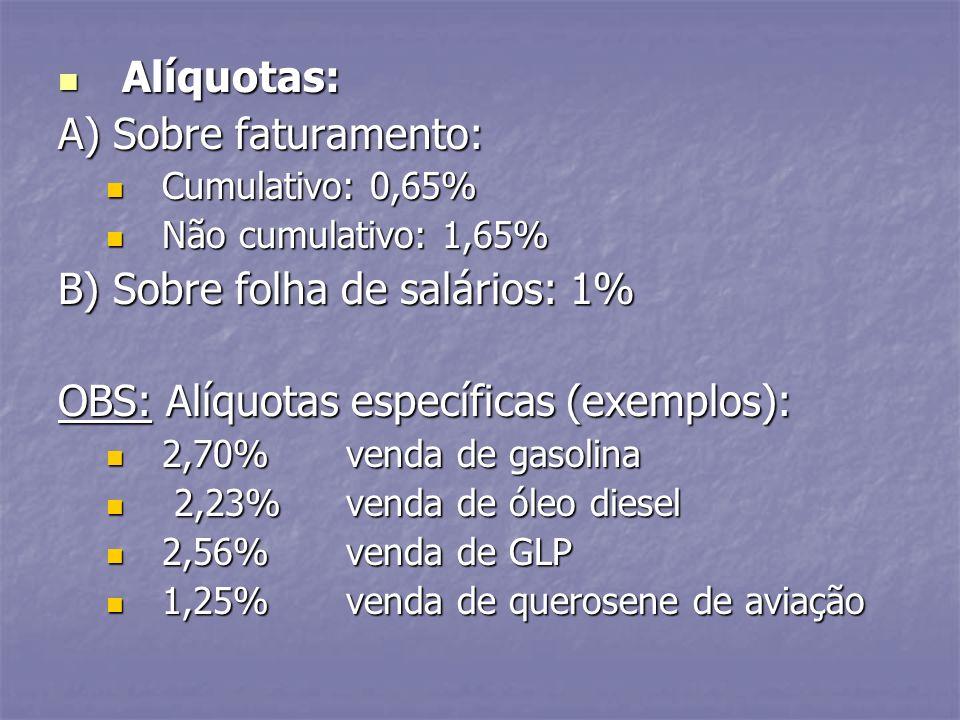 Alíquotas: Alíquotas: A) Sobre faturamento: Cumulativo: 0,65% Cumulativo: 0,65% Não cumulativo: 1,65% Não cumulativo: 1,65% B) Sobre folha de salários