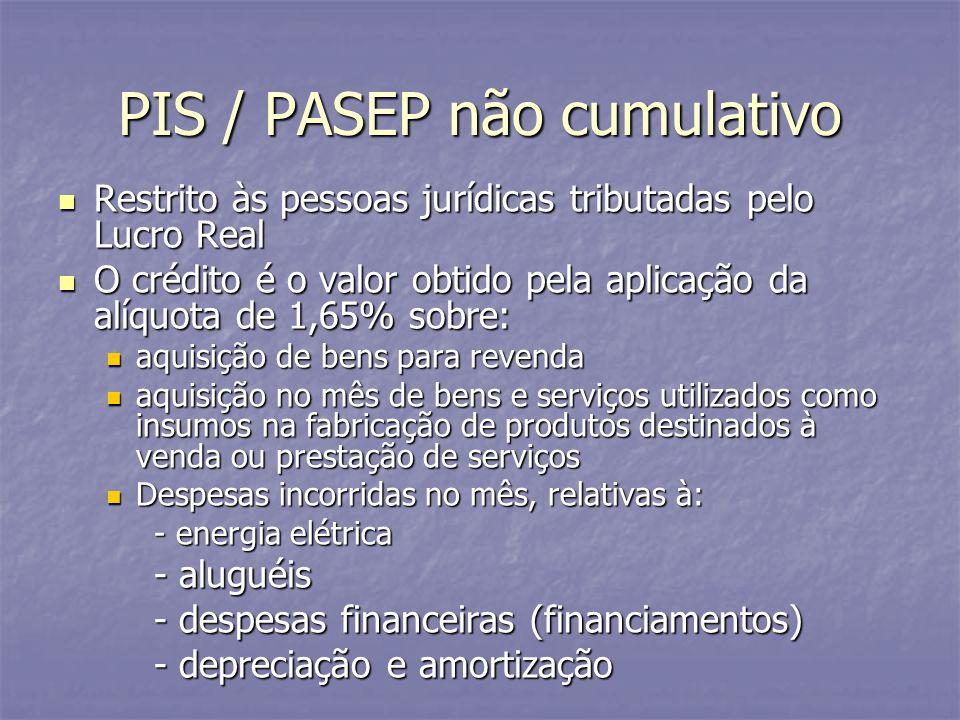 PIS / PASEP não cumulativo Restrito às pessoas jurídicas tributadas pelo Lucro Real Restrito às pessoas jurídicas tributadas pelo Lucro Real O crédito