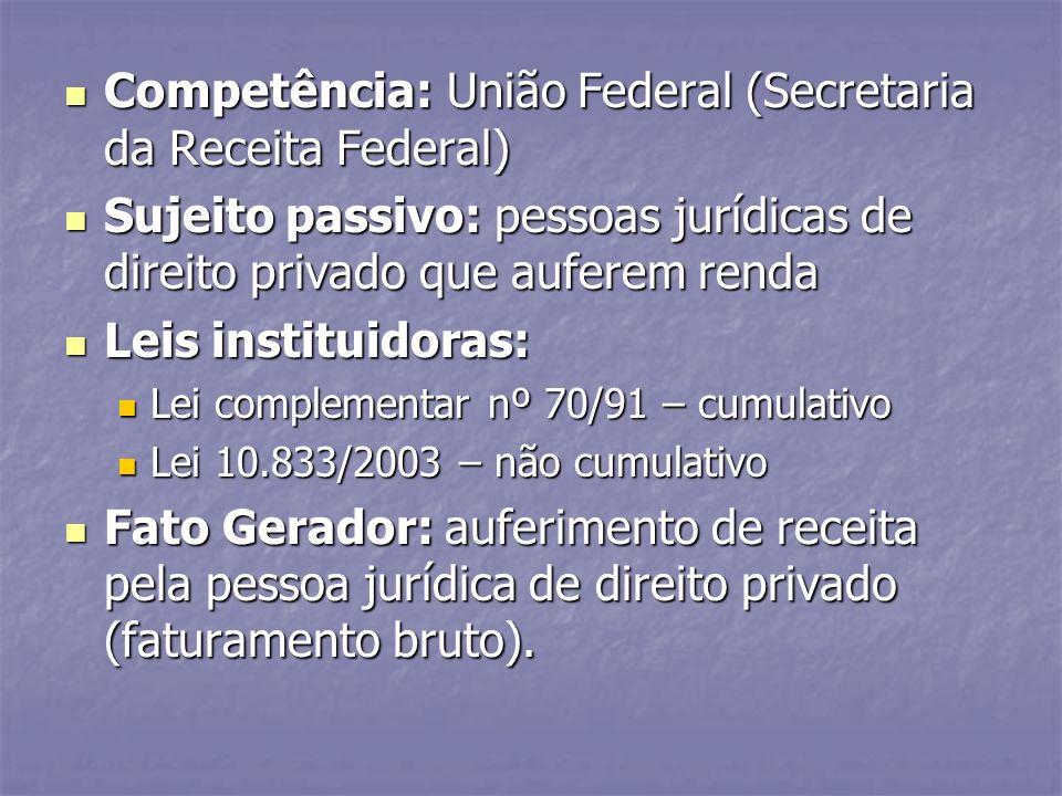 Competência: União Federal (Secretaria da Receita Federal) Competência: União Federal (Secretaria da Receita Federal) Sujeito passivo: pessoas jurídic