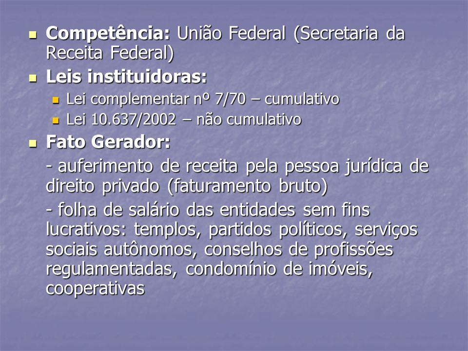 Competência: União Federal (Secretaria da Receita Federal) Competência: União Federal (Secretaria da Receita Federal) Leis instituidoras: Leis institu