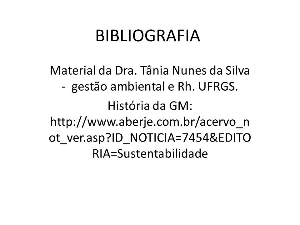 BIBLIOGRAFIA Material da Dra. Tânia Nunes da Silva - gestão ambiental e Rh. UFRGS. História da GM: http://www.aberje.com.br/acervo_n ot_ver.asp?ID_NOT