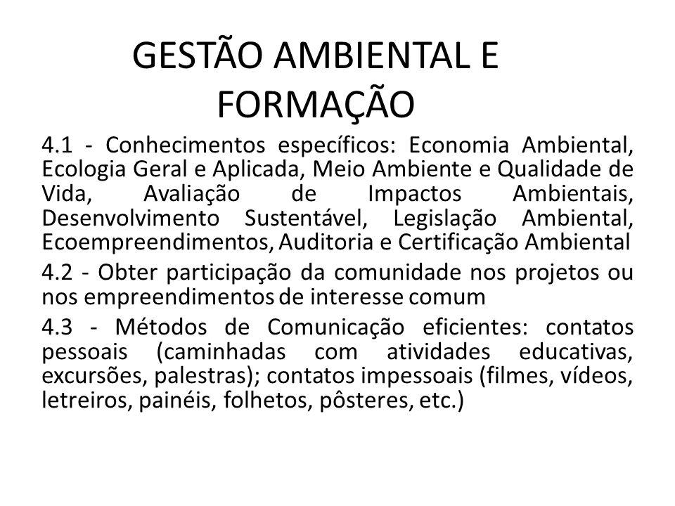 GESTÃO AMBIENTAL E FORMAÇÃO 4.1 - Conhecimentos específicos: Economia Ambiental, Ecologia Geral e Aplicada, Meio Ambiente e Qualidade de Vida, Avaliaç