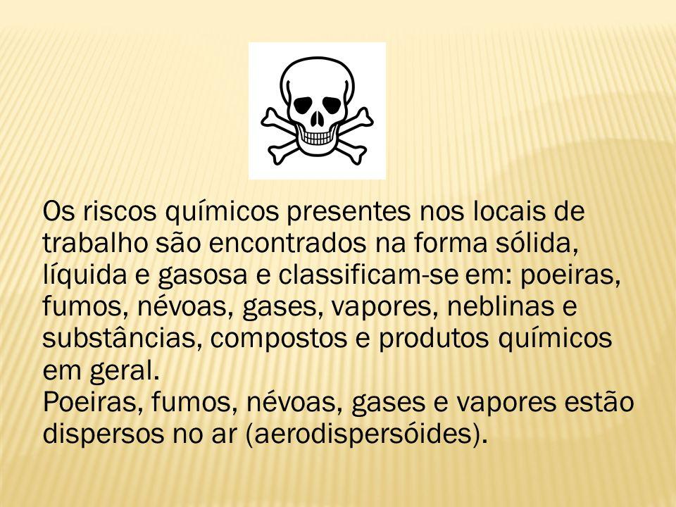Os riscos químicos presentes nos locais de trabalho são encontrados na forma sólida, líquida e gasosa e classificam-se em: poeiras, fumos, névoas, gas