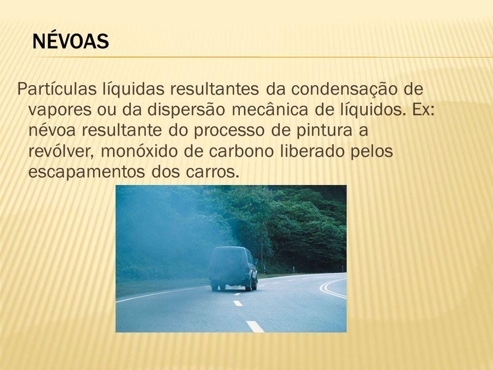 NÉVOAS Partículas líquidas resultantes da condensação de vapores ou da dispersão mecânica de líquidos. Ex: névoa resultante do processo de pintura a r