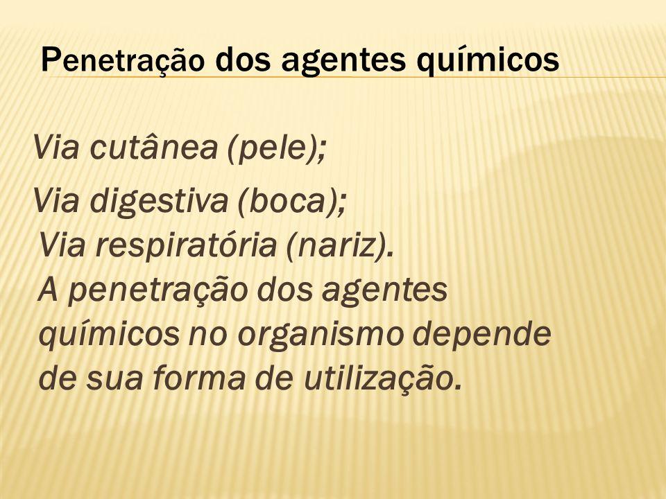 P enetração dos agentes químicos Via cutânea (pele); Via digestiva (boca); Via respiratória (nariz). A penetração dos agentes químicos no organismo de
