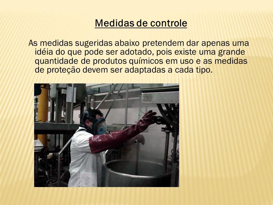 Medidas de controle As medidas sugeridas abaixo pretendem dar apenas uma idéia do que pode ser adotado, pois existe uma grande quantidade de produtos