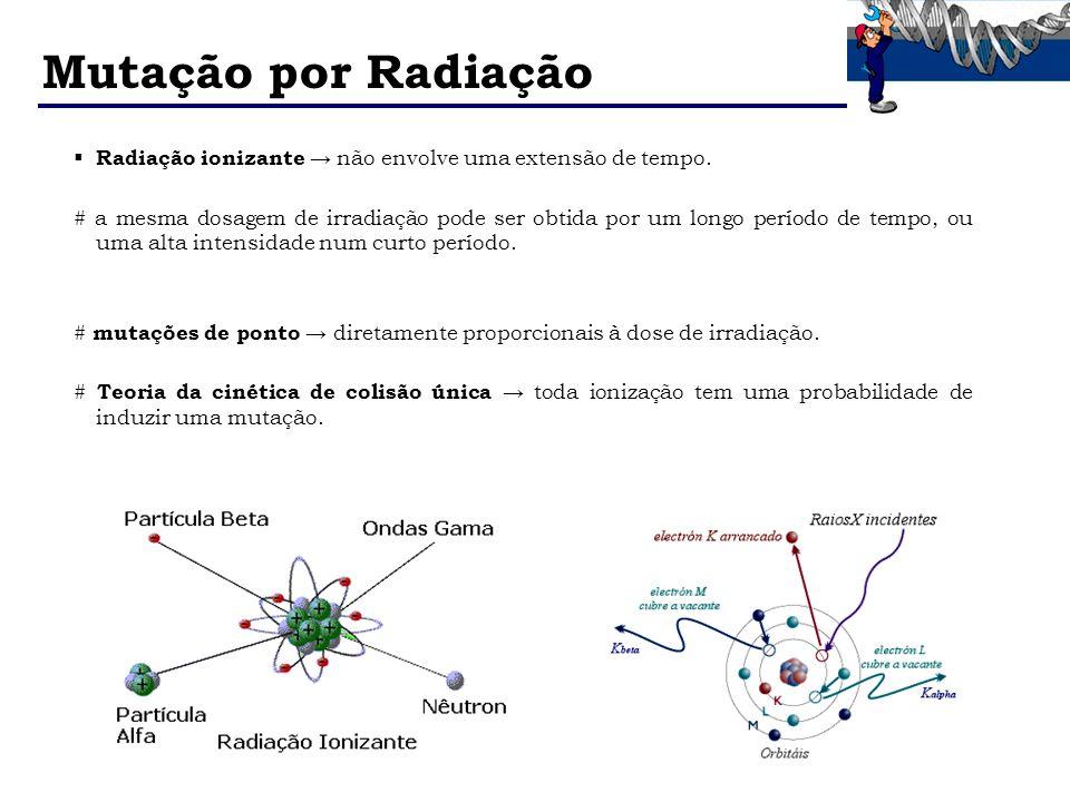 Mutação por Radiação Radiação ionizante não envolve uma extensão de tempo. # a mesma dosagem de irradiação pode ser obtida por um longo período de tem