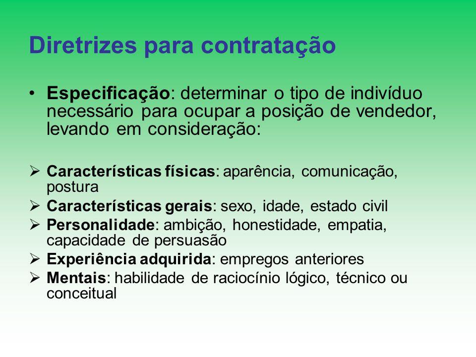 Diretrizes para contratação Especificação: determinar o tipo de indivíduo necessário para ocupar a posição de vendedor, levando em consideração: Carac