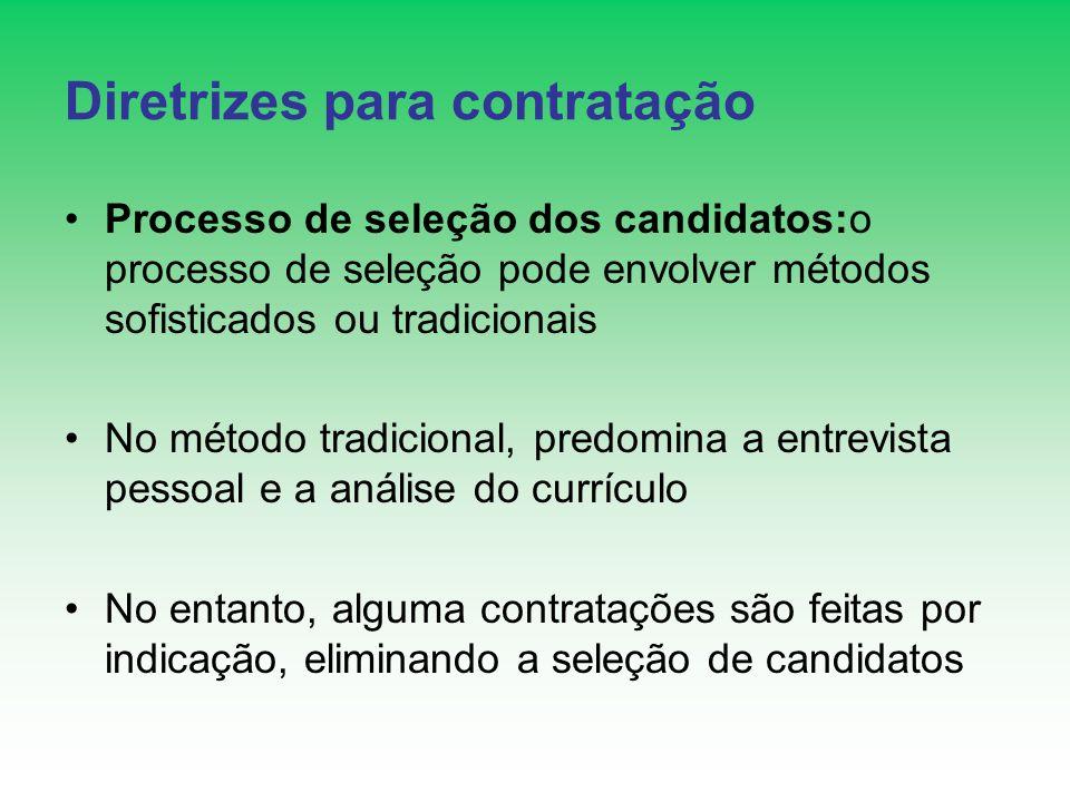Diretrizes para contratação Processo de seleção dos candidatos:o processo de seleção pode envolver métodos sofisticados ou tradicionais No método trad