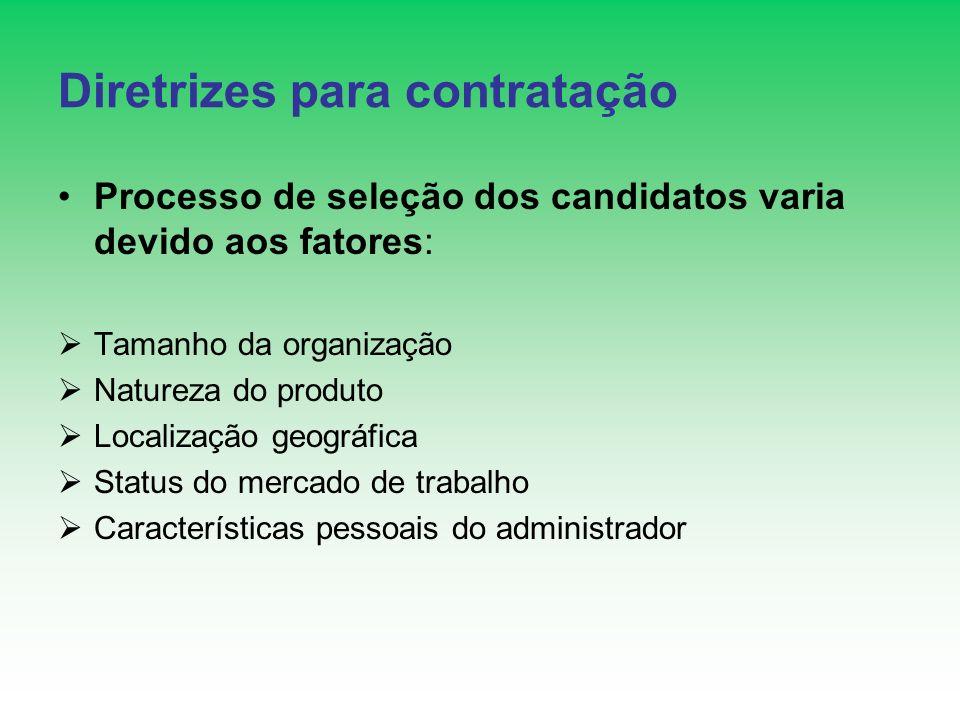 Diretrizes para contratação Processo de seleção dos candidatos varia devido aos fatores: Tamanho da organização Natureza do produto Localização geográ