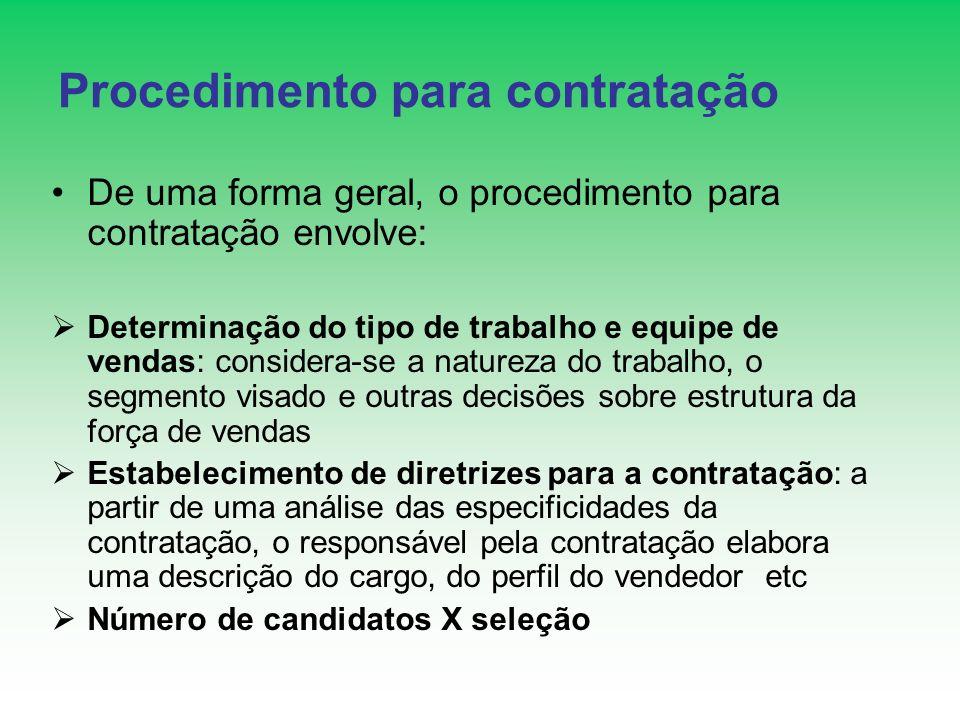 Procedimento para contratação De uma forma geral, o procedimento para contratação envolve: Determinação do tipo de trabalho e equipe de vendas: consid