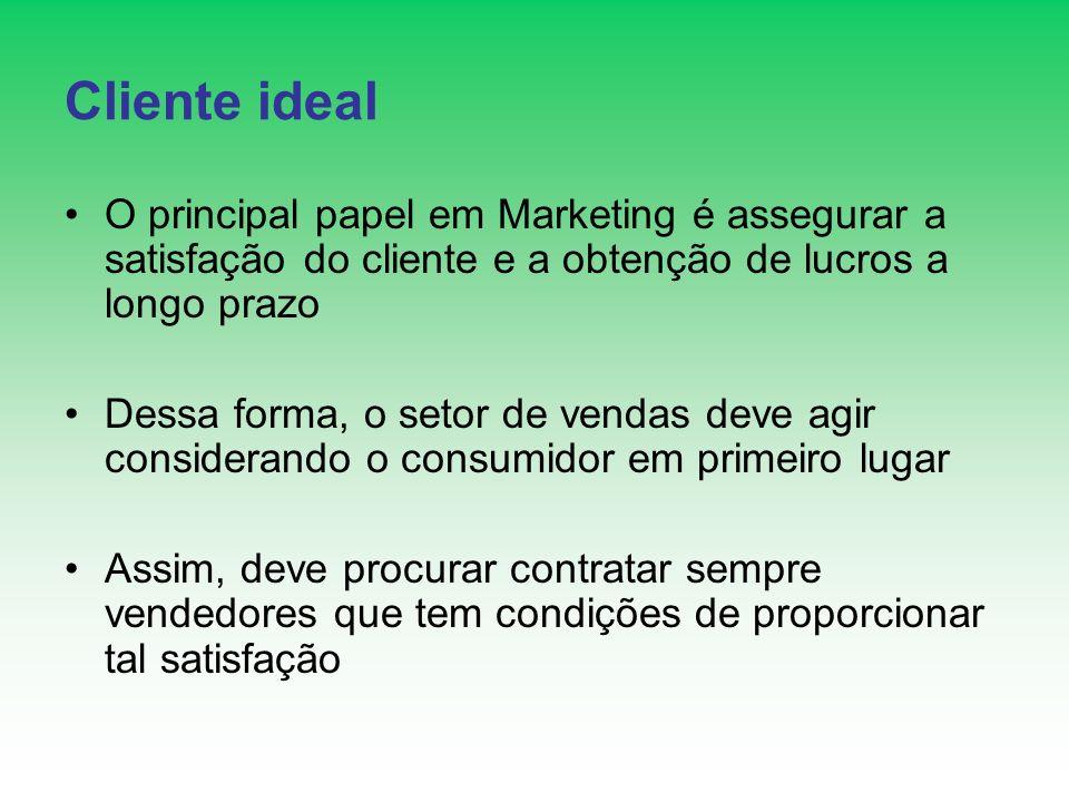 Cliente ideal O principal papel em Marketing é assegurar a satisfação do cliente e a obtenção de lucros a longo prazo Dessa forma, o setor de vendas d