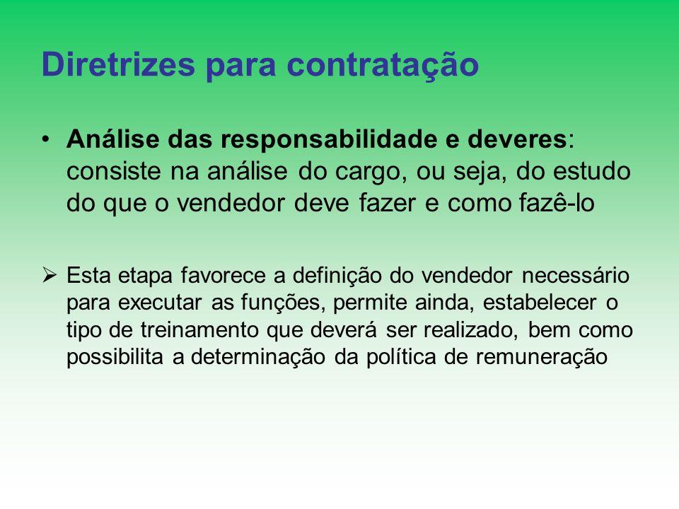 Diretrizes para contratação Análise das responsabilidade e deveres: consiste na análise do cargo, ou seja, do estudo do que o vendedor deve fazer e co