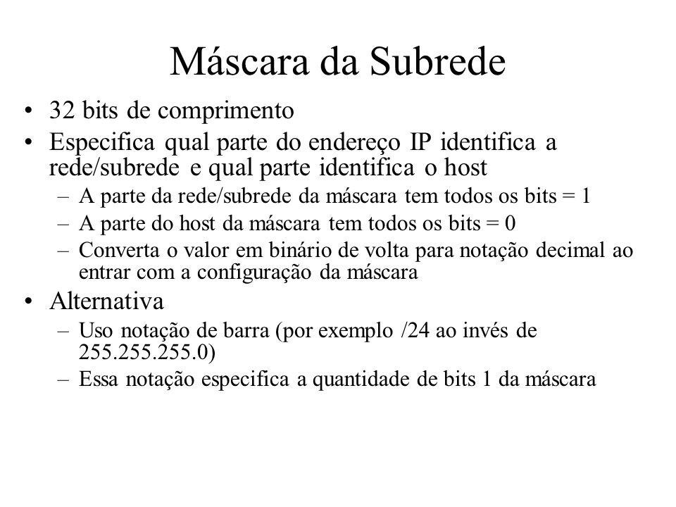 Máscara da Subrede 32 bits de comprimento Especifica qual parte do endereço IP identifica a rede/subrede e qual parte identifica o host –A parte da re