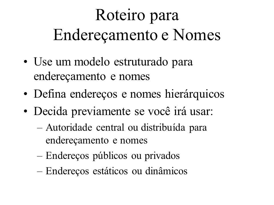 Roteiro para Endereçamento e Nomes Use um modelo estruturado para endereçamento e nomes Defina endereços e nomes hierárquicos Decida previamente se vo