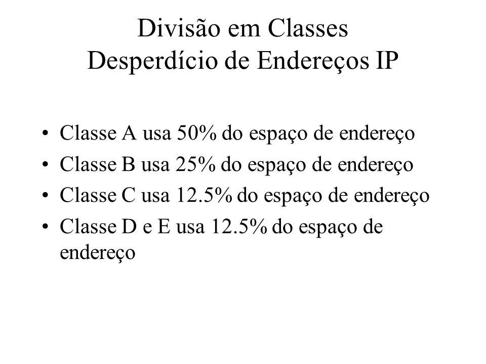Divisão em Classes Desperdício de Endereços IP Classe A usa 50% do espaço de endereço Classe B usa 25% do espaço de endereço Classe C usa 12.5% do esp