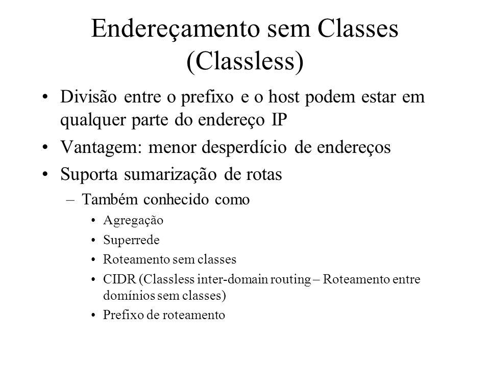 Endereçamento sem Classes (Classless) Divisão entre o prefixo e o host podem estar em qualquer parte do endereço IP Vantagem: menor desperdício de end