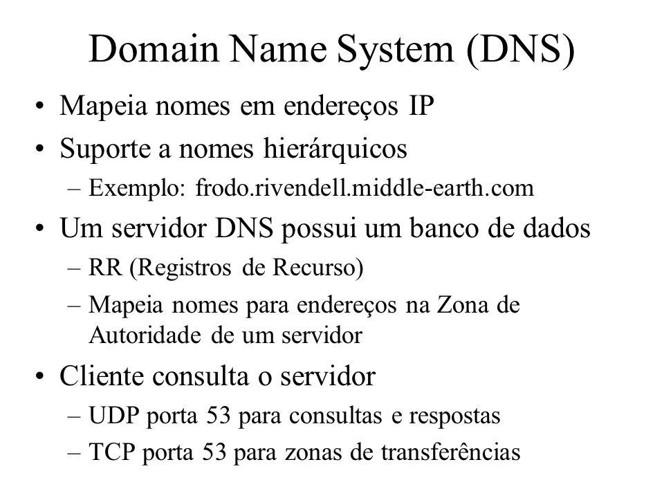 Mapeia nomes em endereços IP Suporte a nomes hierárquicos –Exemplo: frodo.rivendell.middle-earth.com Um servidor DNS possui um banco de dados –RR (Reg