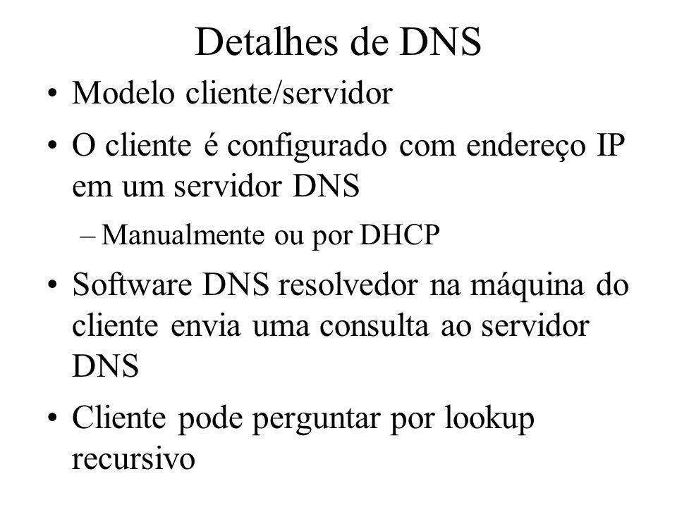 Detalhes de DNS Modelo cliente/servidor O cliente é configurado com endereço IP em um servidor DNS –Manualmente ou por DHCP Software DNS resolvedor na