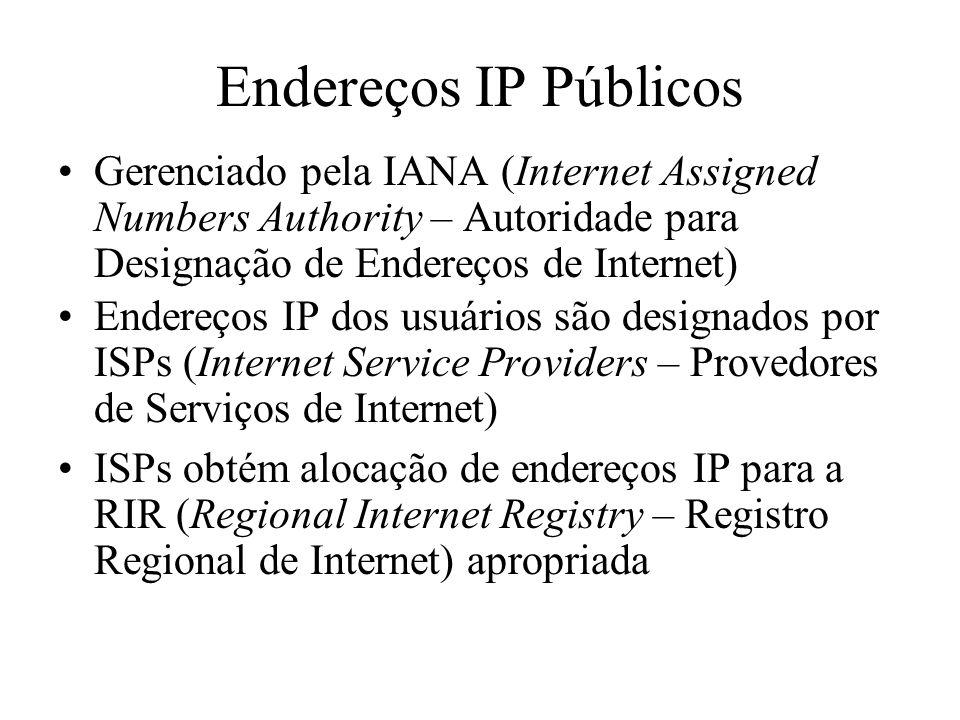 Endereços IP Públicos Gerenciado pela IANA (Internet Assigned Numbers Authority – Autoridade para Designação de Endereços de Internet) Endereços IP do
