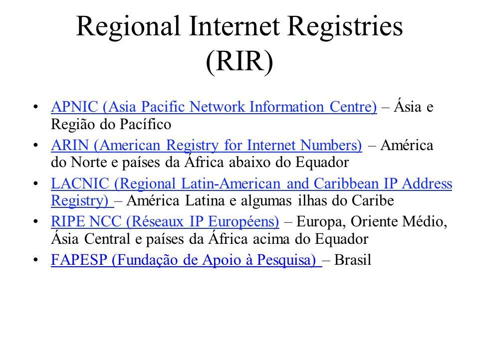 Regional Internet Registries (RIR) APNIC (Asia Pacific Network Information Centre) – Ásia e Região do PacíficoAPNIC (Asia Pacific Network Information