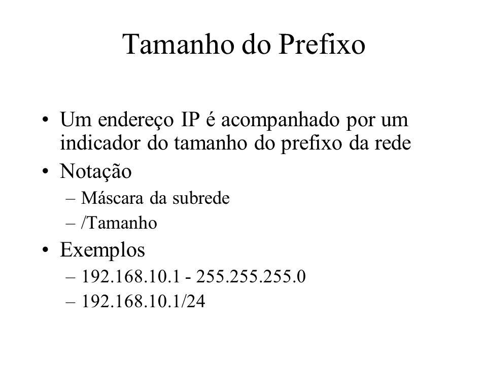 Máscara da Subrede 32 bits de comprimento Especifica qual parte do endereço IP identifica a rede/subrede e qual parte identifica o host –A parte da rede/subrede da máscara tem todos os bits = 1 –A parte do host da máscara tem todos os bits = 0 –Converta o valor em binário de volta para notação decimal ao entrar com a configuração da máscara Alternativa –Uso notação de barra (por exemplo /24 ao invés de 255.255.255.0) –Essa notação especifica a quantidade de bits 1 da máscara