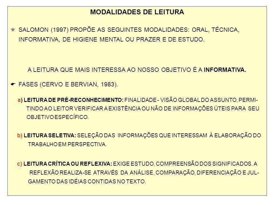 MODALIDADES DE LEITURA SALOMON (1997) PROPÕE AS SEGUINTES MODALIDADES: ORAL, TÉCNICA, INFORMATIVA, DE HIGIENE MENTAL OU PRAZER E DE ESTUDO. A LEITURA