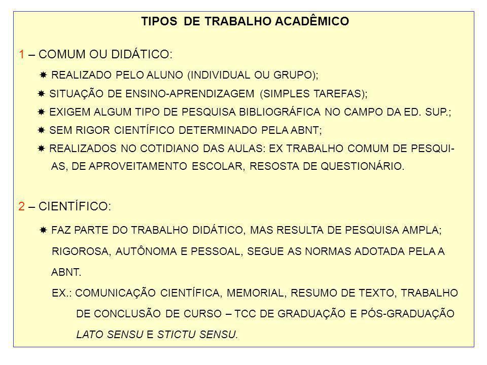 TIPOS DE TRABALHO ACADÊMICO 1 – COMUM OU DIDÁTICO: REALIZADO PELO ALUNO (INDIVIDUAL OU GRUPO); SITUAÇÃO DE ENSINO-APRENDIZAGEM (SIMPLES TAREFAS); EXIG