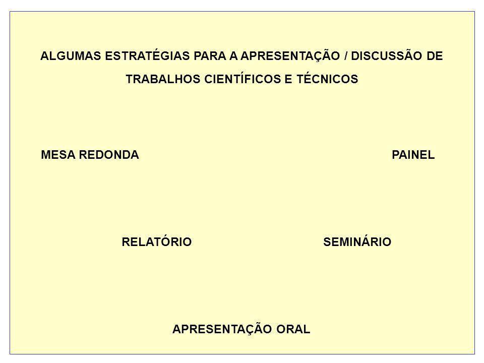 ALGUMAS ESTRATÉGIAS PARA A APRESENTAÇÃO / DISCUSSÃO DE TRABALHOS CIENTÍFICOS E TÉCNICOS MESA REDONDA PAINEL RELATÓRIO SEMINÁRIO APRESENTAÇÃO ORAL