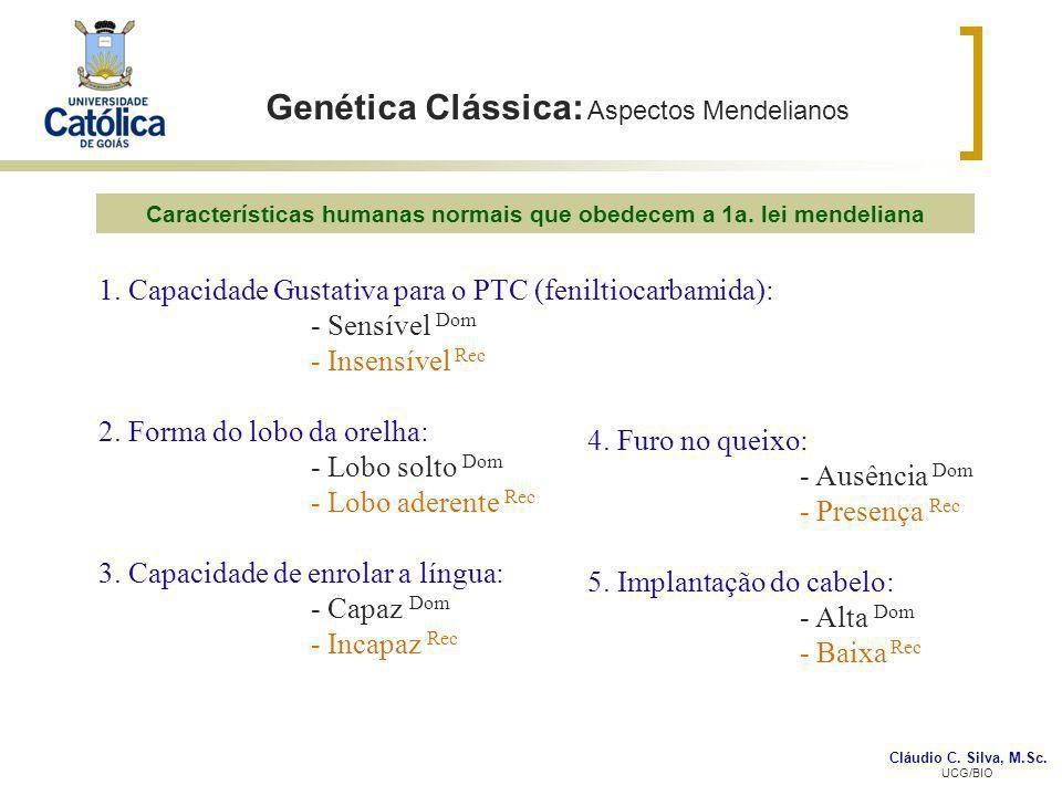 Cláudio C. Silva, M.Sc. UCG/BIO Genética Clássica: Aspectos Mendelianos 1. Capacidade Gustativa para o PTC (feniltiocarbamida): - Sensível Dom - Insen