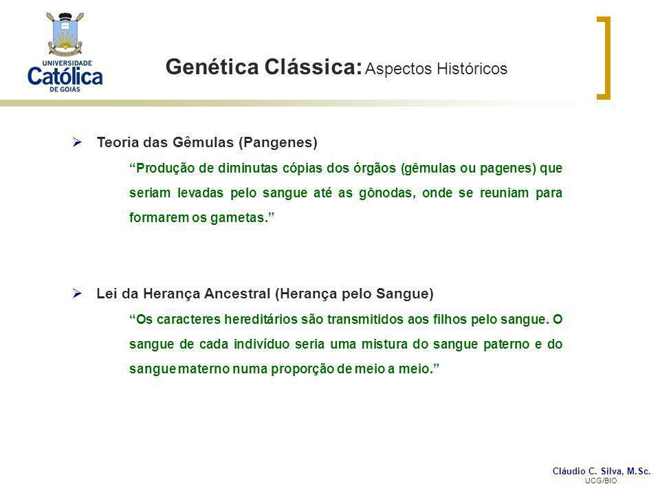 Cláudio C. Silva, M.Sc. UCG/BIO Genética Clássica: Aspectos Históricos Teoria das Gêmulas (Pangenes) Produção de diminutas cópias dos órgãos (gêmulas