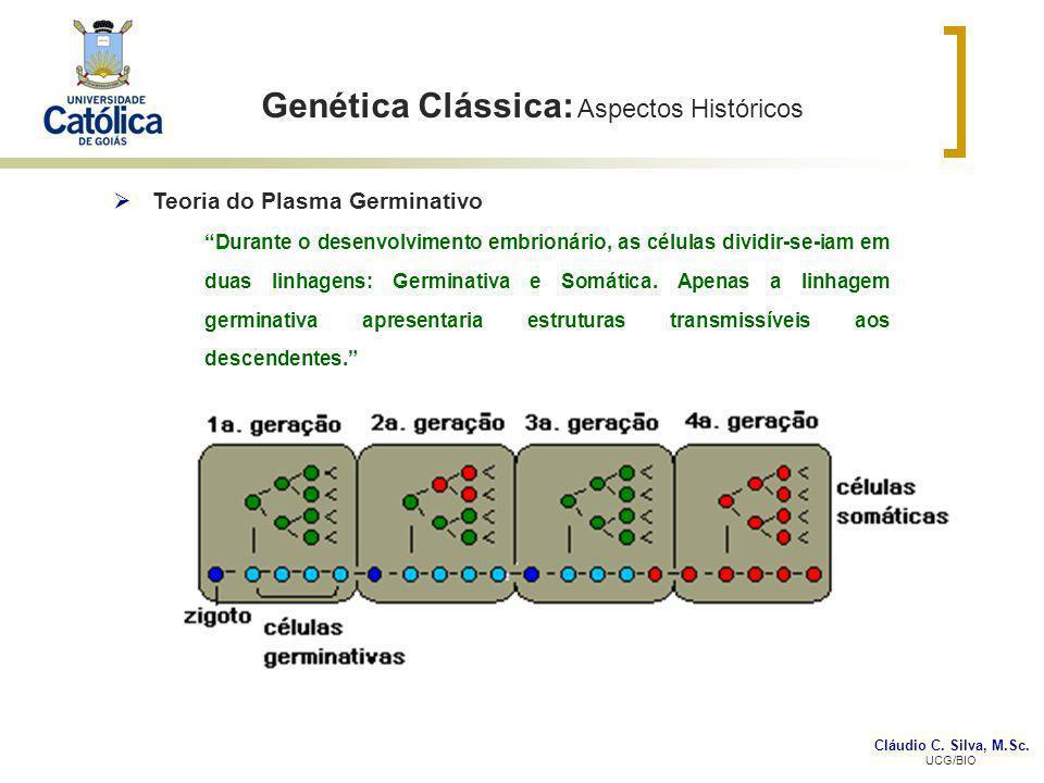 Cláudio C. Silva, M.Sc. UCG/BIO Genética Clássica: Aspectos Históricos Teoria do Plasma Germinativo Durante o desenvolvimento embrionário, as células
