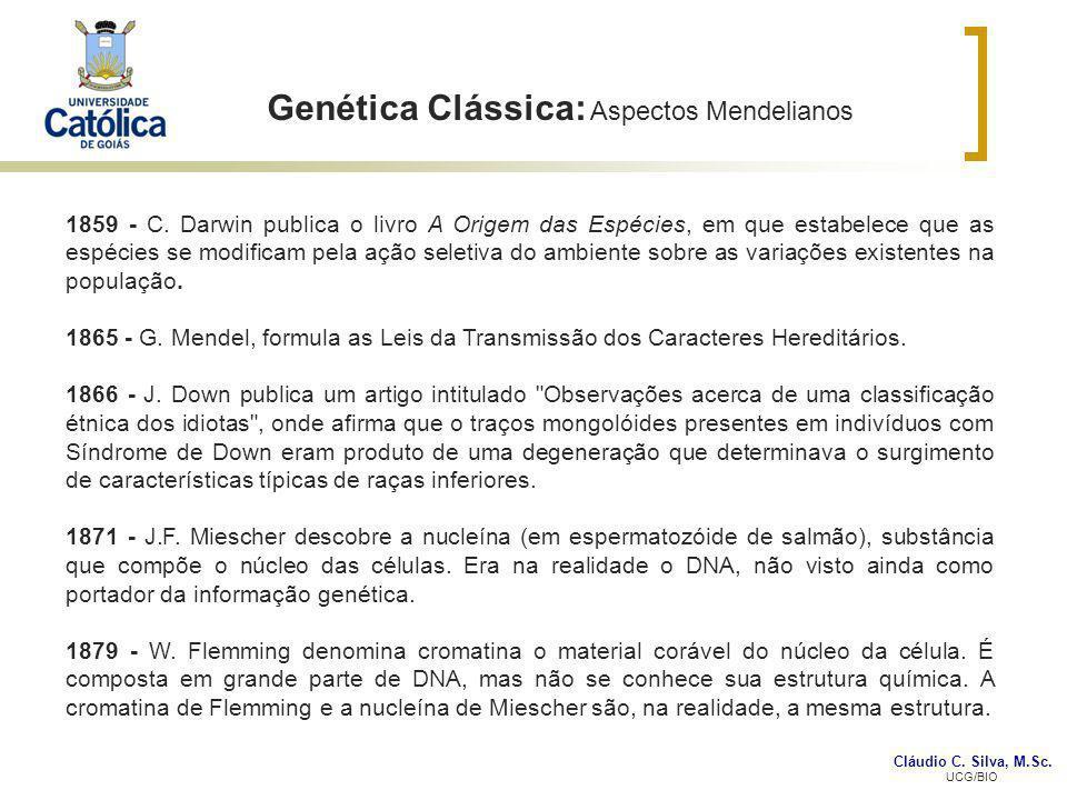 Cláudio C. Silva, M.Sc. UCG/BIO Genética Clássica: Aspectos Mendelianos 1859 - C. Darwin publica o livro A Origem das Espécies, em que estabelece que