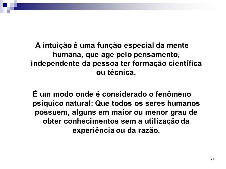 21 A intuição é uma função especial da mente humana, que age pelo pensamento, independente da pessoa ter formação científica ou técnica. É um modo ond