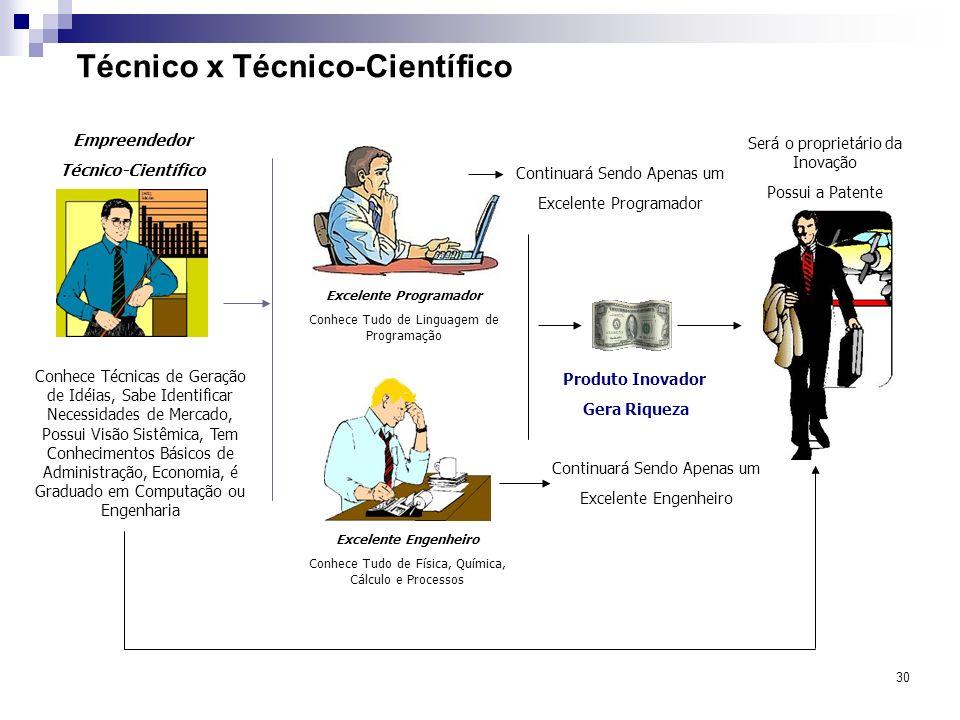 30 Técnico x Técnico-Científico Excelente Programador Conhece Tudo de Linguagem de Programação Excelente Engenheiro Conhece Tudo de Física, Química, C