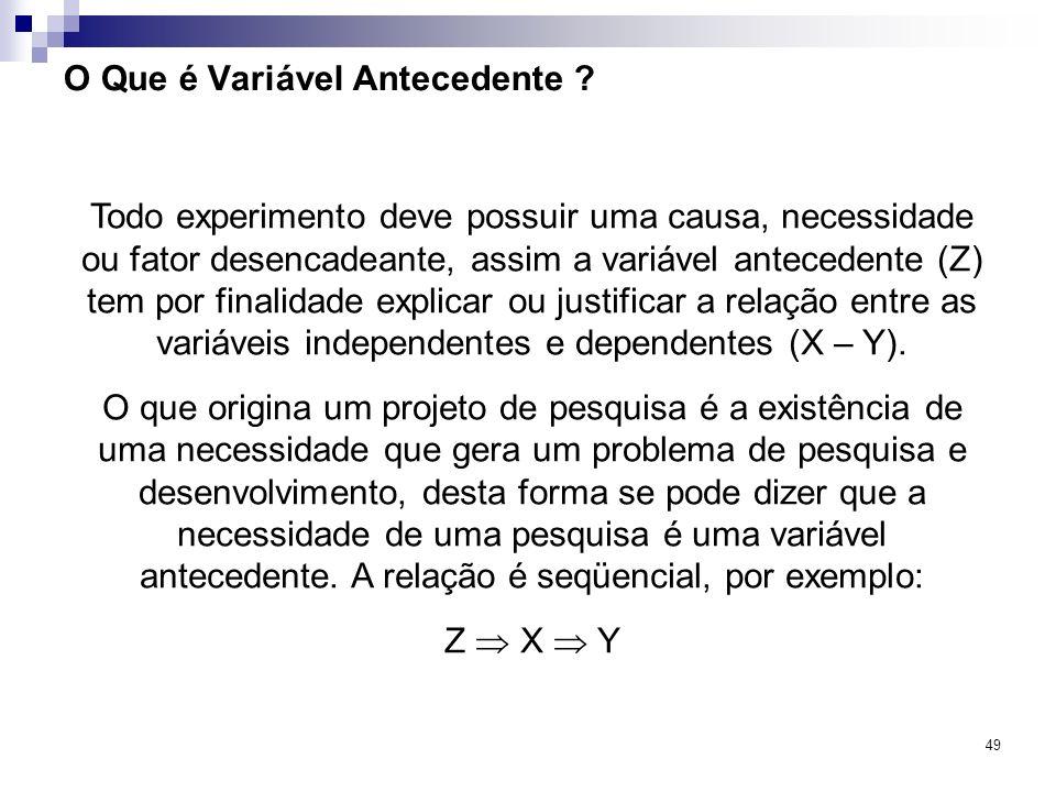 49 O Que é Variável Antecedente ? Todo experimento deve possuir uma causa, necessidade ou fator desencadeante, assim a variável antecedente (Z) tem po