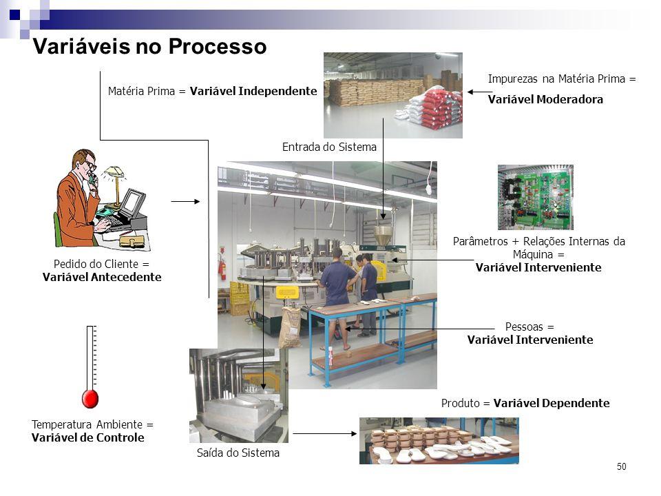 50 Variáveis no Processo Entrada do Sistema Matéria Prima = Variável Independente Saída do Sistema Parâmetros + Relações Internas da Máquina = Variáve